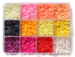 Acheter Boite de 12 couleurs de perles heishi 6 mm - Couleurs chaudes - 12,99€ en ligne sur La Petite Epicerie - 100% Loisir...