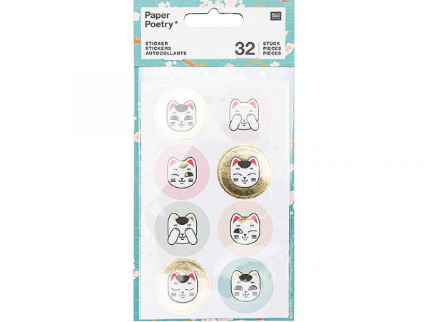 Acheter Lot de 4 planches de stickers autocollants - Têtes de chats porte bonheur - 3,69€ en ligne sur La Petite Epicerie - ...