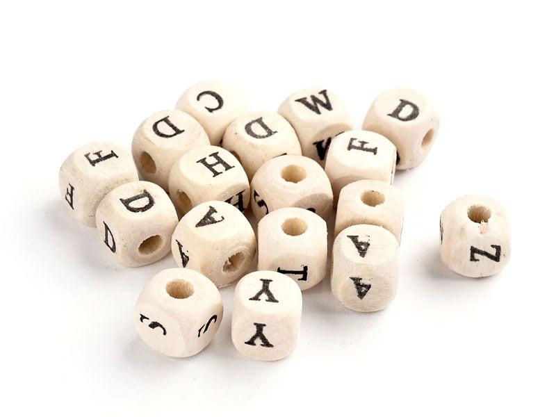 Acheter 200 perles lettres alphabet cubes en bois - 5,69€ en ligne sur La Petite Epicerie - Loisirs créatifs