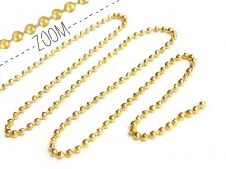 Gold-coloured ball chain (1 m) - 2.4 mm