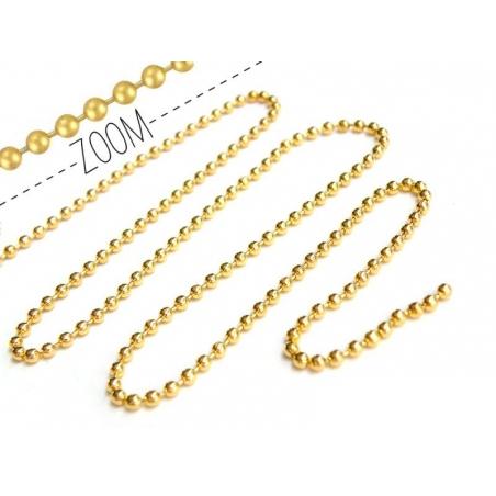1m chaine bille dorée 2,4 mm  - 1