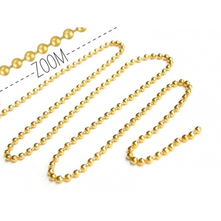 Gold-coloured ball chain (1 m) - 2.4 mm