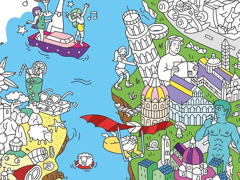 Acheter Poster géant en papier à colorier - ITALY - 9,99€ en ligne sur La Petite Epicerie - Loisirs créatifs