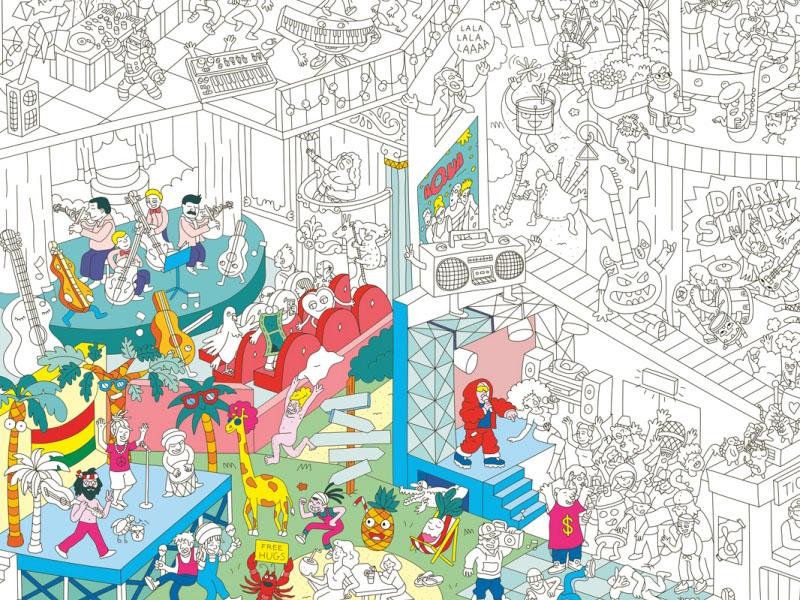 Acheter Poster géant en papier à colorier - MUSIC - 9,99€ en ligne sur La Petite Epicerie - Loisirs créatifs
