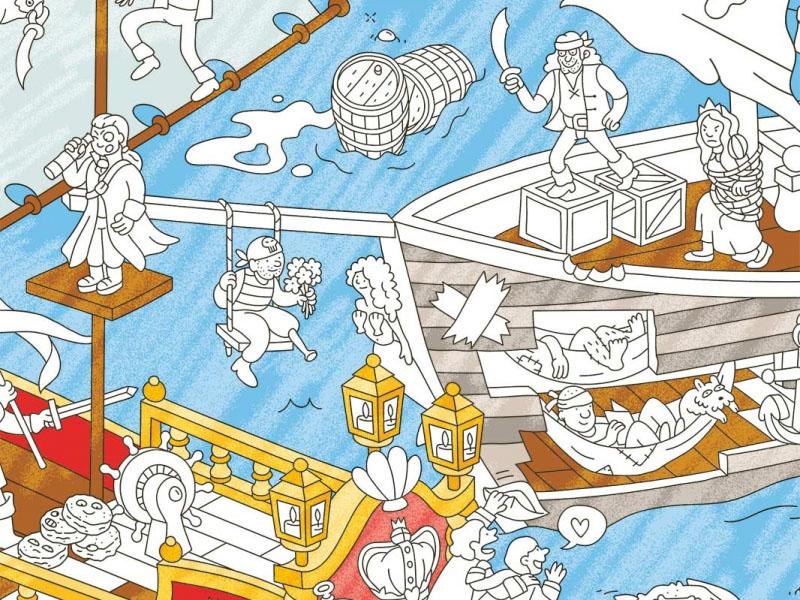 Acheter Poster géant en papier à colorier - PIRATES - 9,99€ en ligne sur La Petite Epicerie - 100% Loisirs créatifs
