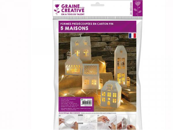 Acheter Lot de 5 maisons blanches - 5,99€ en ligne sur La Petite Epicerie - 100% Loisirs créatifs