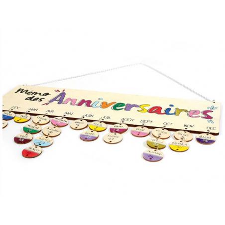 Acheter Calendrier des anniversaires en bois 40 x 12 cm - 6,29€ en ligne sur La Petite Epicerie - Loisirs créatifs