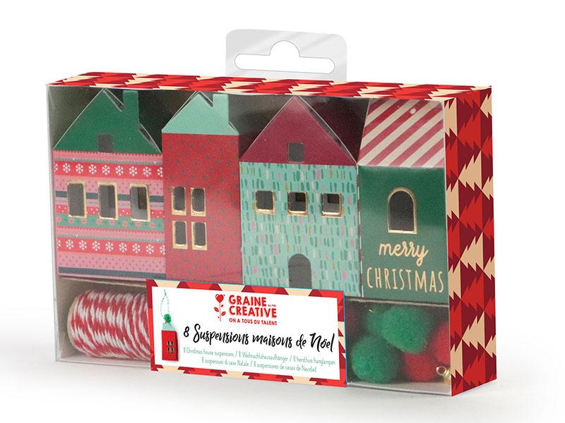 Acheter Kit 8 suspensions maisons de Noel - 4,99€ en ligne sur La Petite Epicerie - 100% Loisirs créatifs