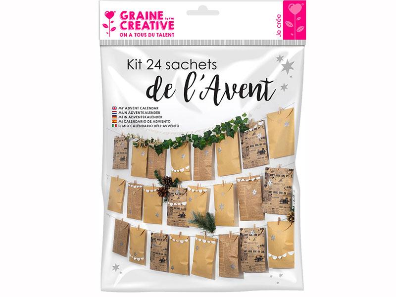 Acheter Kit calendrier de l'avent 24 sachets vintage - 11,89€ en ligne sur La Petite Epicerie - Loisirs créatifs