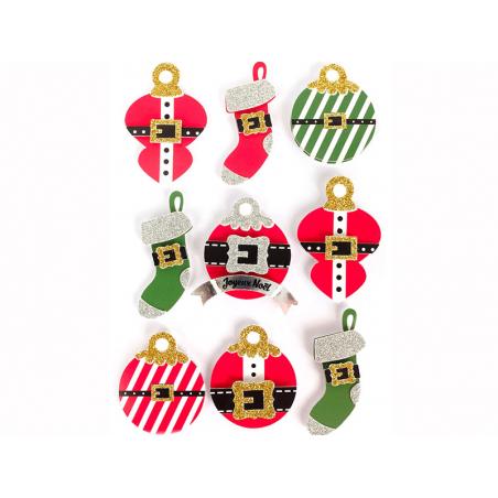 Acheter 9 stickers boules de Noel 3D - 4,29€ en ligne sur La Petite Epicerie - 100% Loisirs créatifs