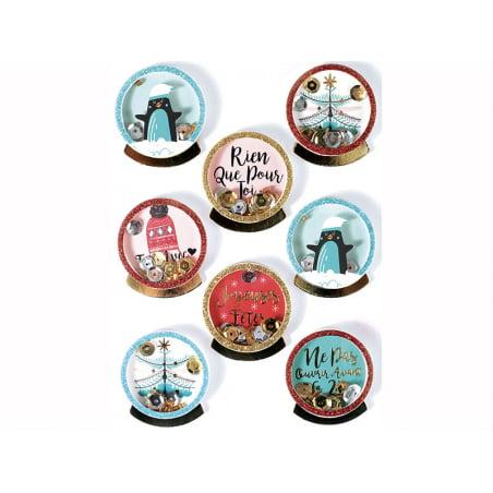 Acheter 8 stickers boule de Noel et pingouins effet 3D - 4,29€ en ligne sur La Petite Epicerie - Loisirs créatifs