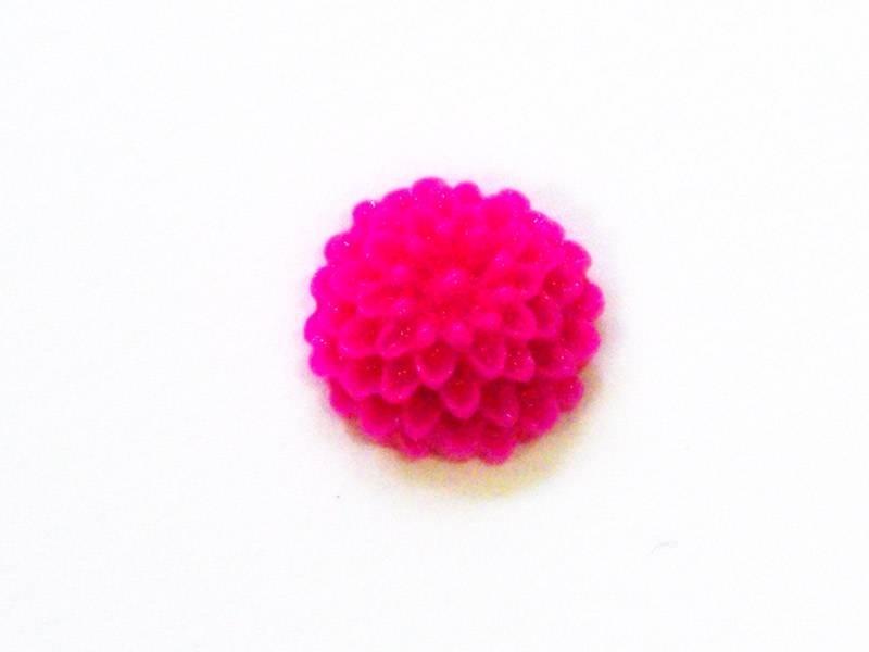 1 Mini cabochon fleur - rose fushia  - 1