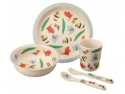 Acheter Coffret cadeau de vaisselle pour bébé- le zoo - en bambou et mélamine - 25,99€ en ligne sur La Petite Epicerie - Loi...
