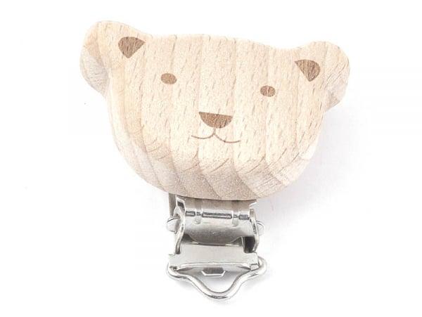 Acheter Pince clip accroche tétine pour bébé - bois clair - ourson sourire - 6,49€ en ligne sur La Petite Epicerie - 100% Lo...