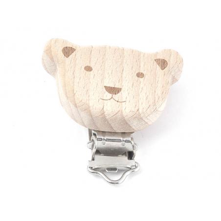 Acheter Pince clip accroche tétine pour bébé - bois clair - ourson sourire - 6,49€ en ligne sur La Petite Epicerie - Loisirs...