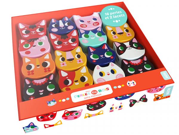 Acheter Coffret perles en bois pour bébés - Jolis matous - 16,50€ en ligne sur La Petite Epicerie - 100% Loisirs créatifs