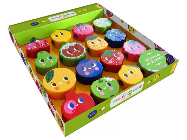 Acheter Coffret perles en bois pour bébés - Les fruits - 16,50€ en ligne sur La Petite Epicerie - Loisirs créatifs