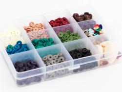 Acheter Boite de 11 couleurs naturelles de perles heishi 6 mm + accessoires - 12,99€ en ligne sur La Petite Epicerie - Loisi...