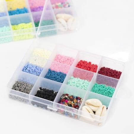 Acheter Boite de 11 couleurs naturelles de perles heishi 3 mm + accessoires - 12,99€ en ligne sur La Petite Epicerie - Loisi...