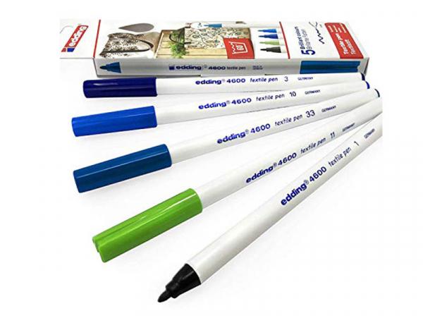 Acheter 5 feutres pour textile Edding - tons bleus - 1 mm - 5,99€ en ligne sur La Petite Epicerie - Loisirs créatifs