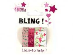 Acheter Lot de 3 mini masking tapes paillettes et flamant rose - 4,89€ en ligne sur La Petite Epicerie - Loisirs créatifs
