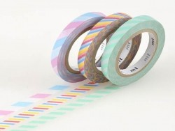 Masking tape trio (slim) - Two-coloured, twisted design in pastel colours