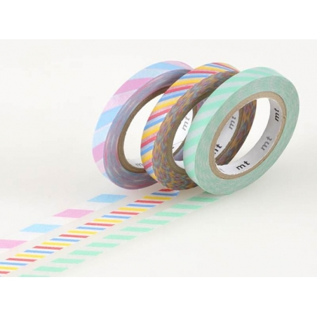 Masking Tapetrio (slim) - Two-coloured, twisted design in pastel colours