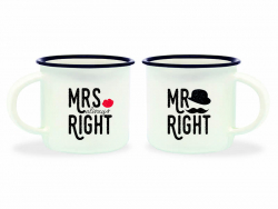 Acheter Mini tasses en porcelaine - Mrs & Mr Right - 10,99€ en ligne sur La Petite Epicerie - 100% Loisirs créatifs