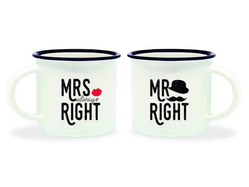 Acheter Mini tasses en porcelaine - Mrs & Mr Right - 10,99€ en ligne sur La Petite Epicerie - Loisirs créatifs