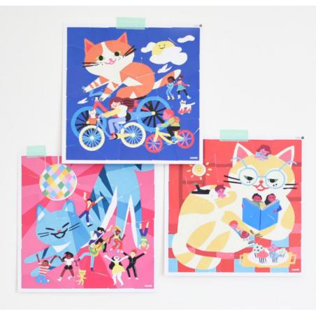 Acheter 3 Sticker Puzzles Drôles de chats - Poppik - 9,79€ en ligne sur La Petite Epicerie - Loisirs créatifs