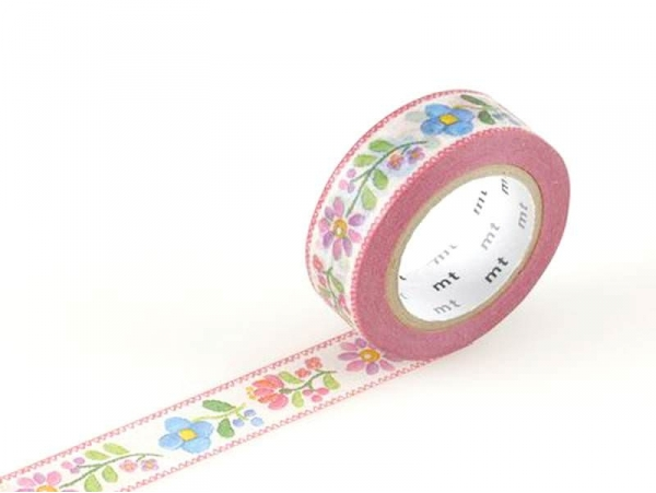 Masking tape motif - fleurs brodées