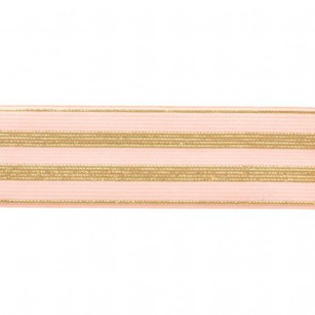 Acheter Elastique rose à rayures en lurex doré 30 mm - 4,49€ en ligne sur La Petite Epicerie - Loisirs créatifs
