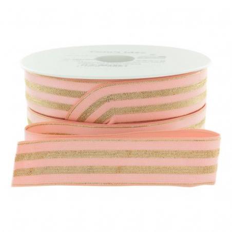 Acheter Elastique rose à rayures en lurex doré 30 mm - 4,49€ en ligne sur La Petite Epicerie - 100% Loisirs créatifs