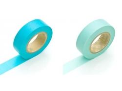 set 2 Masking tape unis - bleu pastel / bleu lagon
