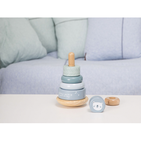 Acheter Pyramide anneaux en bois - bleu - Little Dutch - 14,99€ en ligne sur La Petite Epicerie - Loisirs créatifs