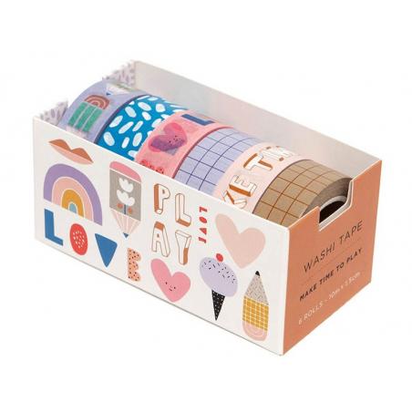 Acheter Lot de 6 washi tapes - Make time to play - 15,69€ en ligne sur La Petite Epicerie - Loisirs créatifs