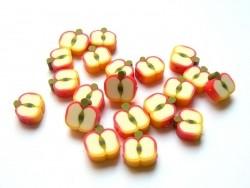 20 perles pommes en pâte fimo - modelage