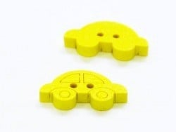 1 painted wooden button - yellow car