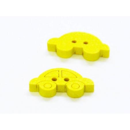 1 Bouton en bois peint - voiture jaune