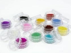 Set mit durchscheinenden Mikrokügelchen in 12 unterschiedlichen Farben