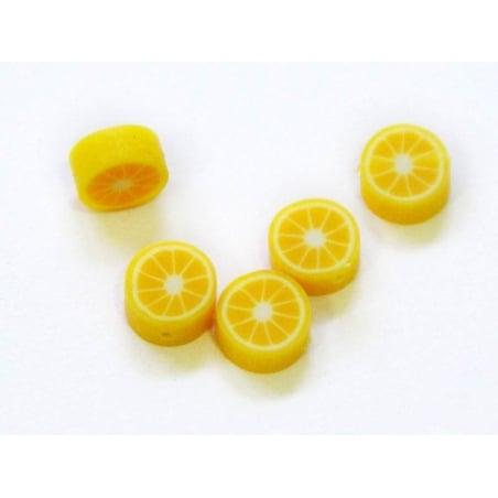 20 perles citron en pâte fimo - modelage  - 1