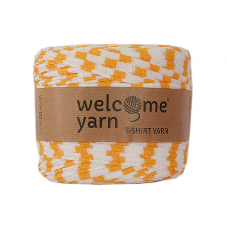 Acheter Grande bobine de fil trapilho - blanc à rayures jaunes - 7,90€ en ligne sur La Petite Epicerie - Loisirs créatifs
