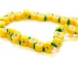 20 perles pommes jaune en pâte fimo - modelage  - 1