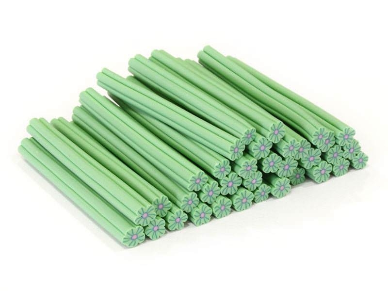 Cane fleur vert clair en pâte polymère  - 1