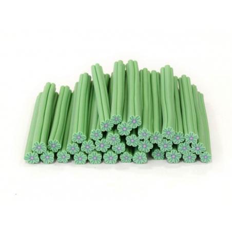 Cane fleur vert clair en pâte polymère  - 2