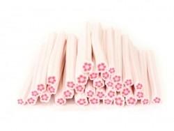 Cane fleur rose fluo en pâte polymère