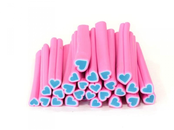 Heart cane - pink and blue