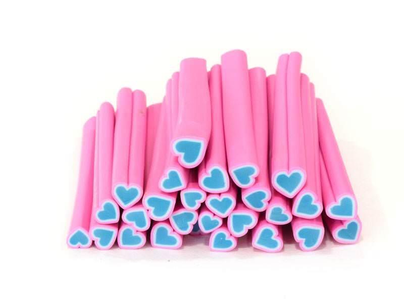 Acheter Cane coeur rose et bleu- en pâte fimo - à trancher - 0,99€ en ligne sur La Petite Epicerie - Loisirs créatifs