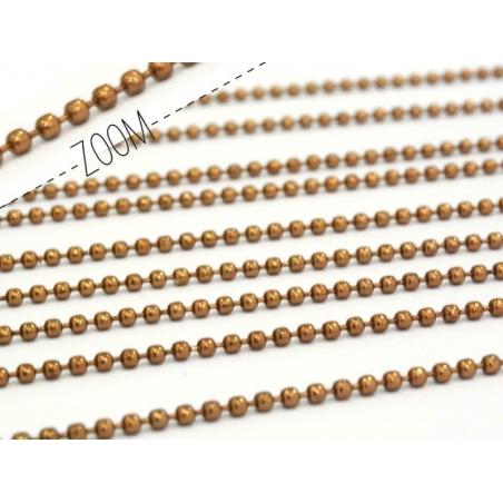1m chaine bille marron  1,5 mm  - 1