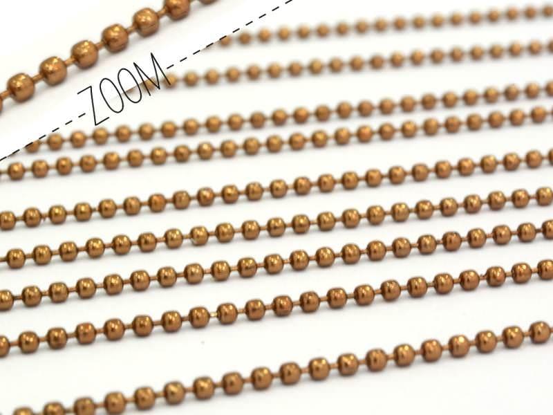 1m chaine bille marron  1,5 mm